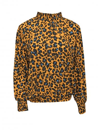 Top happy Neon Panter oranje zwart blauw multi trui coltrui dames topjes lange mouwen kopen