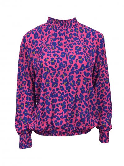 Top happy Neon Panter pink roze blauwe multi trui coltrui dames topjes lange mouwen kopen