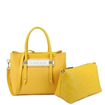 Bag-in-Bag-Tas-Fashion-geel gele-tassen-handtassen-tekst- fashion dames- kunstleder tas kopen-bestellen extra etui