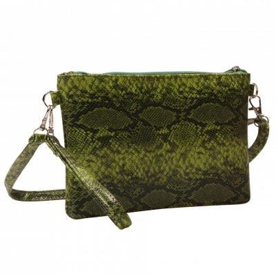 Clutch Slangenprint groen groene tasjes clutches schoudertassen snake print kopen bestellen goedkoop
