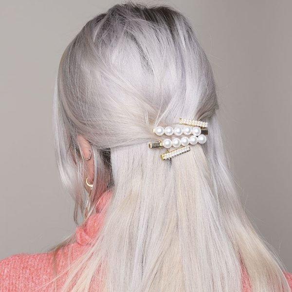 Haarclip Tiny Pearl 2 gouden haarpinnen haaraccessoires parels dames trends trendy haarspeld