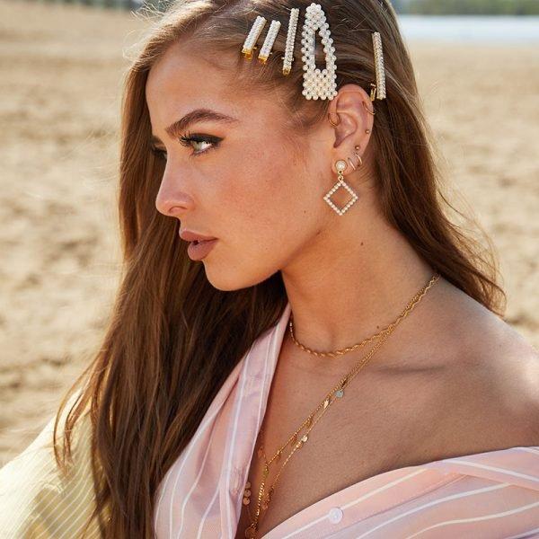 Haarclip Tiny Pearl 2 gouden haarpinnen haaraccessoires parels dames trends trendy haarspelden kopen