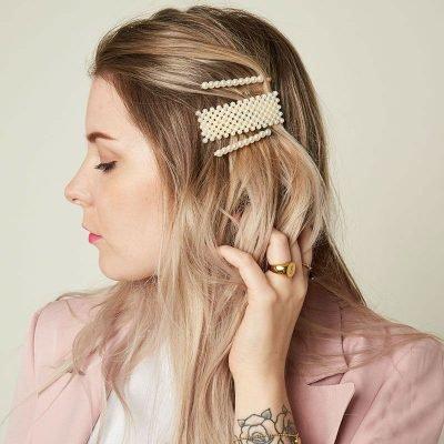 Haarpin Square Pearls vierkante haarpin haarclip haar accessoires dames parels kopen trendy trends detail
