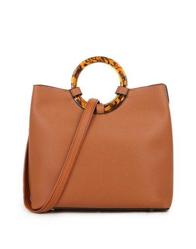 Handtas Rond Handvat bruin bruine kunstleer tassen rond bruin handvat leopard zijkanten panter print trendy tassen