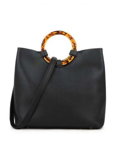 Handtas Rond Handvat zwart zwarte kunstleer tassen rond bruin handvat leopard zijkanten panter print trendy tassen