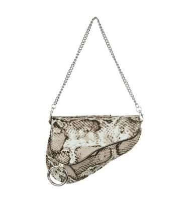 Heuptas Saddle beige asymmetrische heuptas fannypack bumbag zilveren kettinghengsel ring kopen