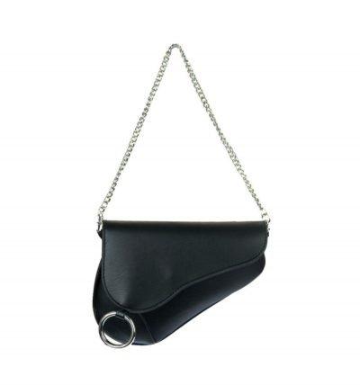 Heuptas Saddle zwart zwarte asymmetrische heuptas fannypack bumbag zilveren kettinghengsel ring kopen