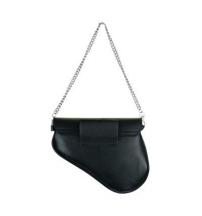 Heuptas Saddle zwart zwarte asymmetrische heuptas fannypack bumbag zilveren kettinghengsel ring kopen achter