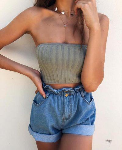 Jeans Short Summer korte shorts jeans korte spijkerbroek elastieke band festival fashion