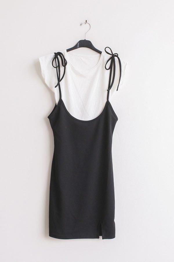 Jurk Shirt Dress zwart zwarte korte jurken wit shirt overlay festival fashion black dress kopen bestellen