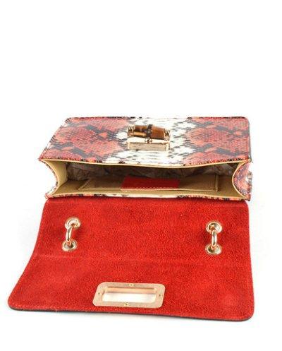Leren-Handtas-Lovely-Wood-Snake-rood rode-slangenprint-dames-tassen-leder-houten-handvat-kopen-bestellen-luxe