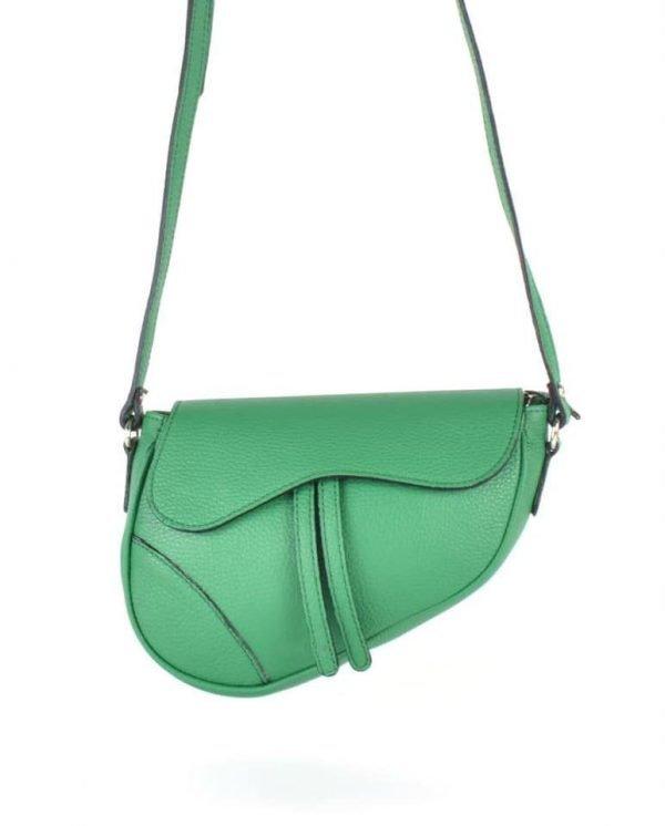 Leren Tas Saddle groen groene saddlebag dames schoudertassen zadel tas leder giulaino kopen