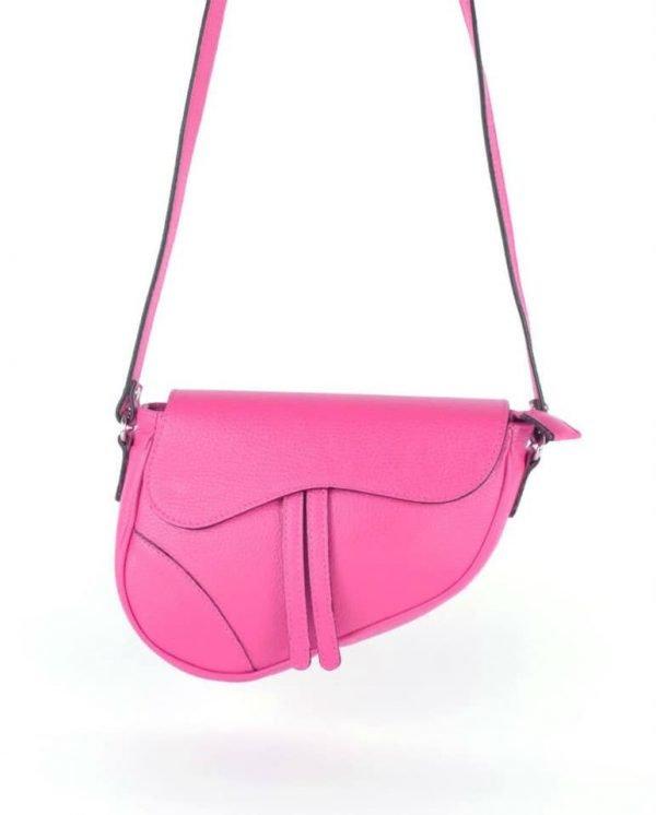 Leren Tas Saddle roze pink fuchsia saddlebag dames schoudertassen zadel tas leder giulaino kopen
