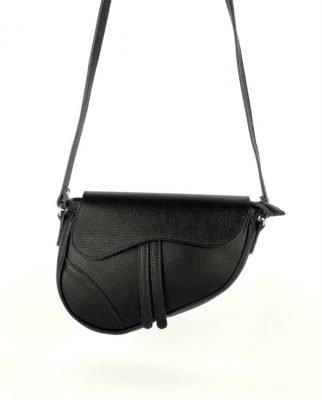 Leren Tas Saddle zwart zwarte saddlebag dames schoudertassen zadel tas leder giulaino kopen