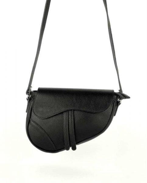 c934fc1ebb6 Leren Tas Saddle zwart zwarte saddlebag dames schoudertassen zadel tas  leder giulaino kopen