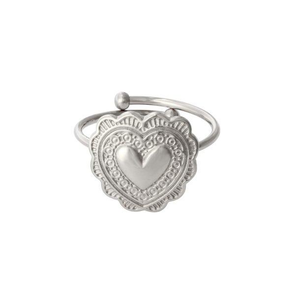 Ring True Love zilver zilveren rvs hartvormige verstelbare ringen dames sieraden yehwang kopen