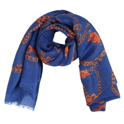 Sjaal Multi Chain blauw blauwe dames sjaals gele kettingen print sjaaljes kleurrijk kopen bestellen