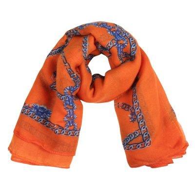 Sjaal Multi Chain oranje orange dames sjaals gele kettingen print sjaaljes kleurrijk kopen bestellen