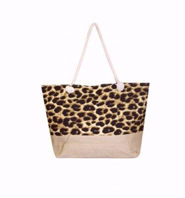 Strandtas Leopard jutte strandtassen beachbags panterprint grote shoppers kopen bestellen online