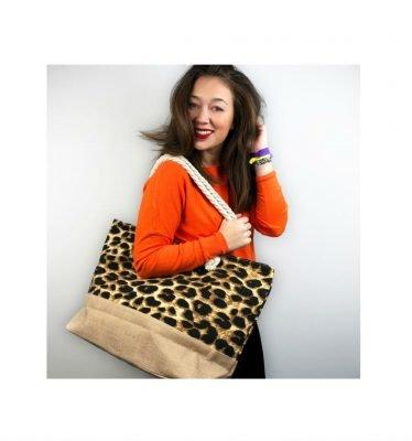 Strandtas Leopard strandtassen beachbags panterprint grote shoppers kopen bestellen