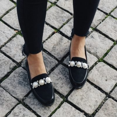 Zwarte Loafer Studs Pearls q