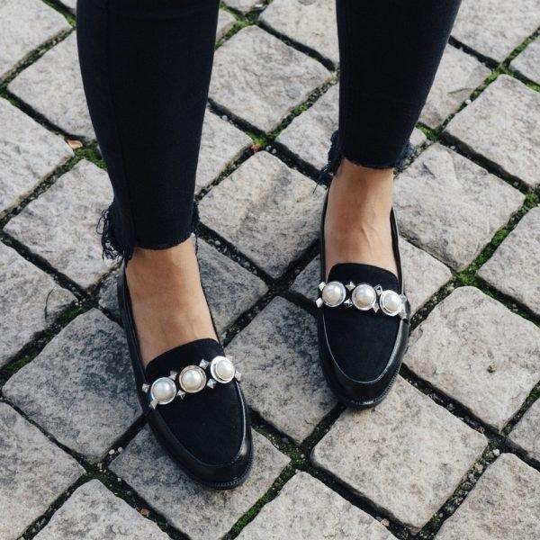 Zwarte Loafer Studs Pearls q