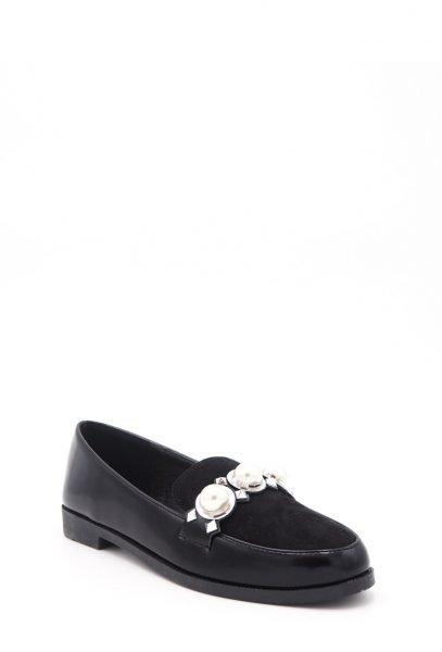 Zwarte Loafer Studs Pearls s