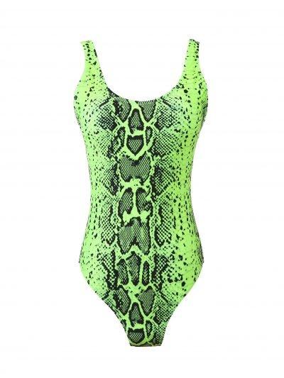 Badpak-Neon Snake Green groen groene slangeprint- nxt-lvl-badpakken dames laag uitgesneden zwart witte slangenprint musthave one piece kopen bestellen