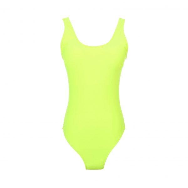 Badpak-Neon Yellow geel gele felle neonprint- nxt-lvl-badpakken dames laag uitgesneden zwart witte slangenprint musthave one piece kopen bestellen