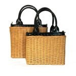 Duo Mand Summer bruin bruine met zwarte rieten manden giuliano tassen strandtassen manden bag in bag kopen