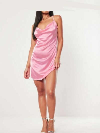 Jurk Satin Slip Dress roze pink cowl-neck-mini-dress korte dames jurken gladde stof kopen fashion