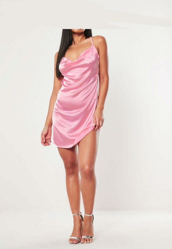 Jurk Satin Slip Dress roze pink cowl-neck-mini-dress korte dames jurken gladde stof kopen fashion