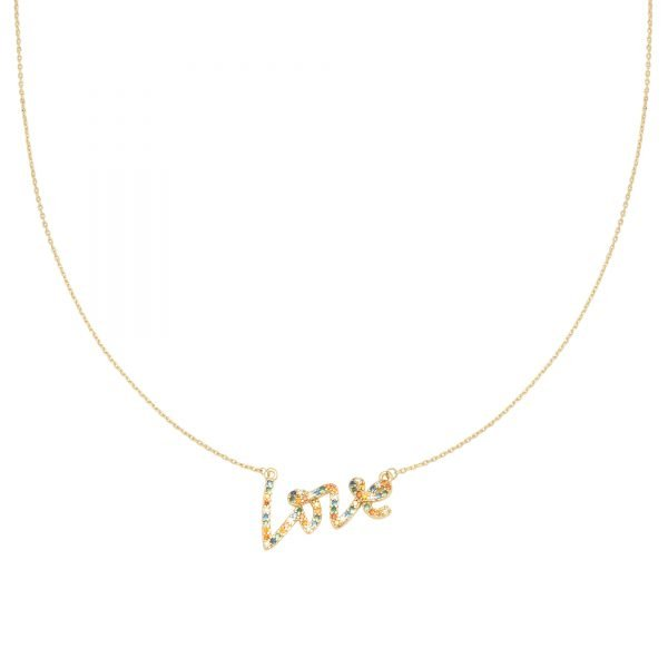 Ketting Colorful Love goud gouden dunne ketting gekleurde stenen love bedel steentjes kopen