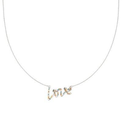 Ketting Colorful Love zilver zilveren dunne ketting gekleurde stenen love bedel steentjes sieraden dames kopen