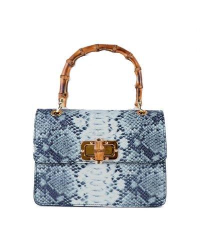 Leren-Handtas-Lovely-Wood-Snake-zwart grijs grijze slangenprint dames-tassen-leder-houten-handvat-kopen-bestellen-luxe-