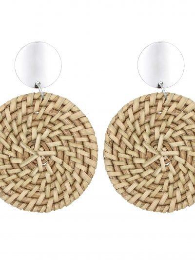 Oorbellen Round Ratan beige creme rieten ronde oorbel oorhanger musthave sieraden dames earrings kopen
