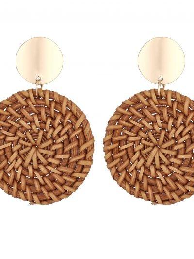 Oorbellen Round Ratan bruin bruine rieten ronde oorbel oorhanger musthave sieraden dames earrings kopen