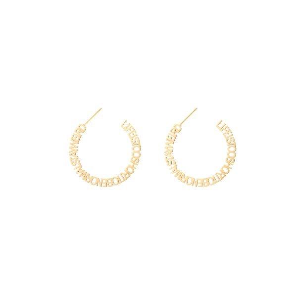 Oorbellen Stay Weird goud gouden oorbel creool dames sieraden tekst ronde oorbel fashion earrings kopen