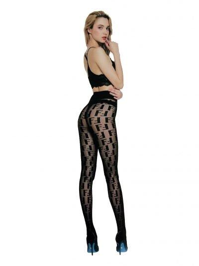 Panty F Logo zwart zwarte dames panty met f print 20 dennier hys han yishow panties tights kopen fashion musthaves