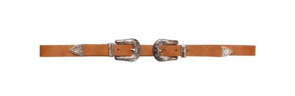Riem Dubbele Cowboy Gesp double buckle bruin bruine dames riemen 2 gespen fashion belts kopen bestellen