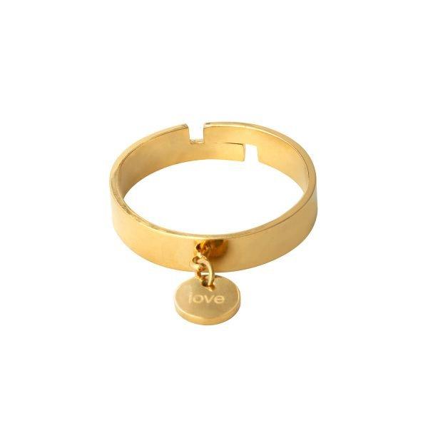 Ring Love Charm goud-gouden-dikke dames-ringe met hart bedel online-sieraden-fashion-musthaves-rings-online
