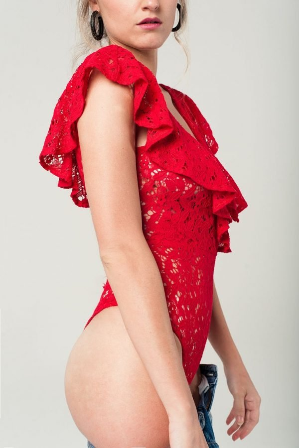 Rode-kanten-bodystocking ruches bodysuit sexy doorzichtige korte mouwen string body dames kleding kopen