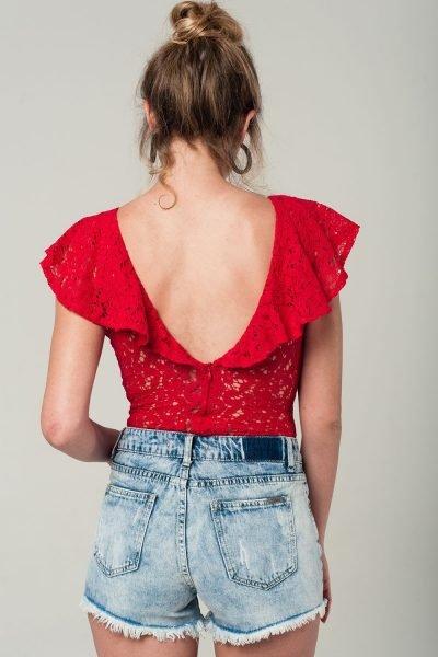 Rode-kanten-bodystocking ruches bodysuit sexy doorzichtige korte mouwen string body dames kleding kopen achter