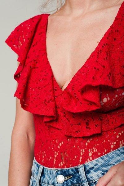 Rode-kanten-bodystocking ruches bodysuit sexy doorzichtige korte mouwen string body dames kleding kopen details festival