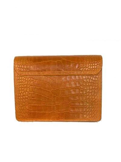 Schoudertas Croco Fashion camel cognac doktertas brede smalle hengsel kroko print goud beslag giuliano leder kopen bestellen achterkant