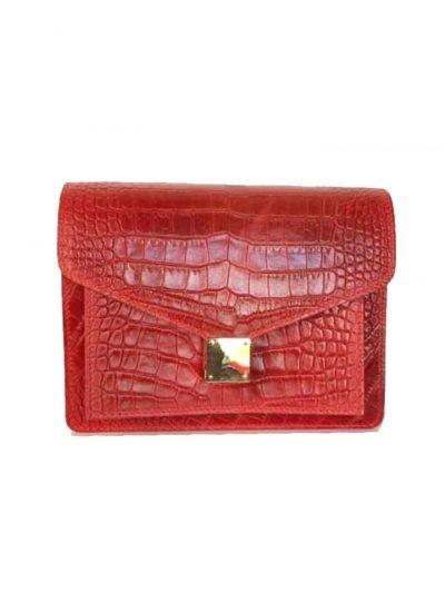 Schoudertas Croco Fashion rood rode doktertas brede smalle hengsel kroko print goud beslag giuliano leder kopen