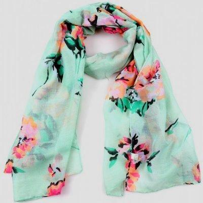 Sjaal Pastel Flowers mint blauwe sjaalstjes dames sjaals bloemen print kopen goedkoop
