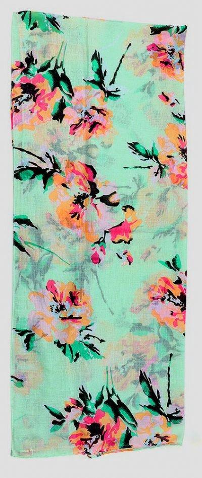 Sjaal Pastel Flowers mint blauwe sjaalstjes dames sjaals bloemen print kopen goedkoop details
