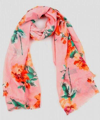 Sjaal Pastel Flowers roze pink sjaalstjes dames sjaals bloemen print kopen goedkoop