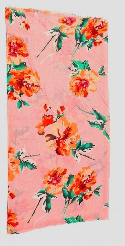 Sjaal Pastel Flowers roze pink sjaalstjes dames sjaals bloemen print kopen goedkoop details